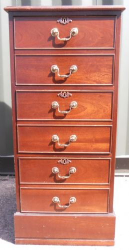 Filing Cabinet Three Drawer Mahogany
